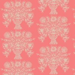 RP206-CO2 Meadow - Vase Block Print - Coral Fabric