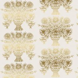 RP206-CR3M Meadow - Vase Block Print - Cream Metallic Fabric