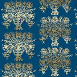 RP206-NA4M Meadow - Vase Block Print - Navy Metallic Fabric