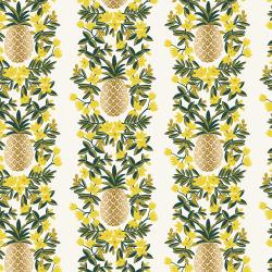 RP302-CR2M Primavera - Pineapple Stripe - Cream Metallic Fabric