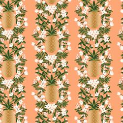 RP302-PH3M Primavera - Pineapple Stripe - Peach Metallic Fabric