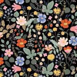 RP400-BK5R Strawberry Fields - Strawberry Fields - Black Rayon Fabric