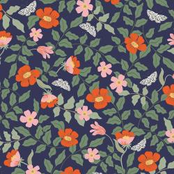 RP402-NA3R Strawberry Fields - Primrose - Navy Rayon Fabric