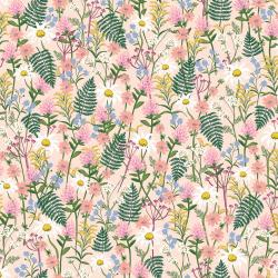 RP106-PA5L Wildwood - Wildflowers - Pale Rose Lawn Fabric