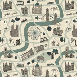 SY100-MI3U London Town - London Forever - Mint Unbleached Fabric