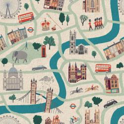 SY100-SD4C London Town - London Forever - Sunny Day Canvas Fabric (SY100-SD3C)
