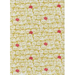 S2029-001 Cat Lady - Stack-O-Cats - Mustard Fabric