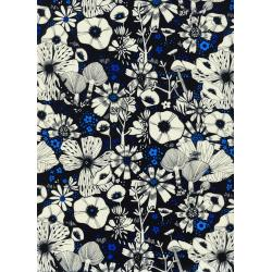 S2031-015 Cat Lady - Purrfect Hiding Spot - Black Rayon Fabric