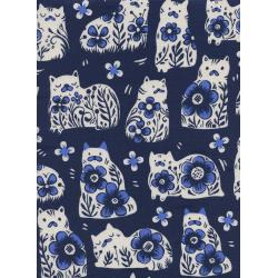 S2032-001 From Porto With Love - Sushi's Antique - Navy Unbleached Cotton Fabric