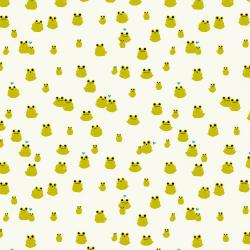 S2077-017 Front Yard - Frogs - Cream Knit Fabric