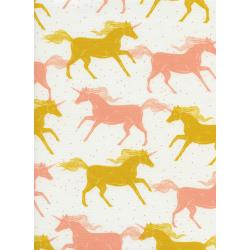 S2053-001 Magic Forest - Unicorns - Yellow Neon Pigment Fabric