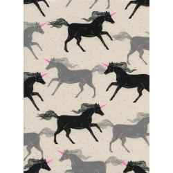 S2053-002 Magic Forest - Unicorns - Noir Unbleached Cotton Neon Pigment Fabric