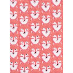 S2057-002 Magic Forest - Foxes - Coral Fabric