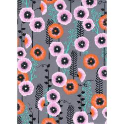 S2062-001 Santa Fe - Hollyhocks - Grey Fabric