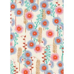 S2062-002 Santa Fe - Hollyhocks - Natural Unbleached Cotton Fabric
