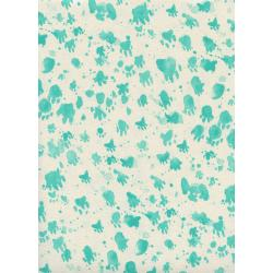 S2066-001 Santa Fe - Coyote Tracks - Turquoise Unbleached Cotton Fabric