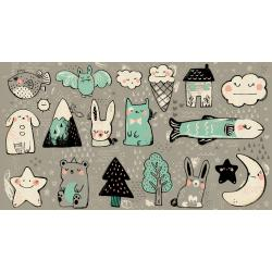 S2042-001 Sleep Tight - Toys - Grey Unbleached Cotton Fabric