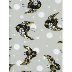 S2044-002 Sleep Tight - Night Owl - Neutral Metallic Fabric