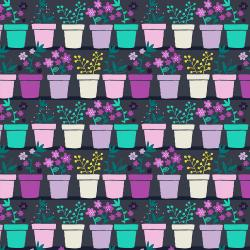 TB101-NA3 From the Desk of... - Plants in Pots - Navy Fabric