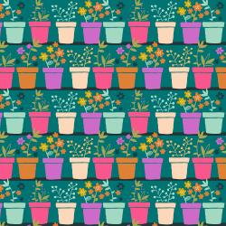 TB101-TE1 From the Desk of... - Plants in Pots - Teal Fabric