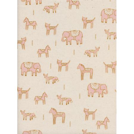 A4044-002 Flower Shop - Dala Friends - Pink Unbleached Cotton Fabric