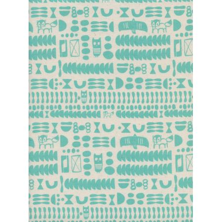 A4046-002 Flower Shop - Charms - Turquoise Unbleached Cotton Fabric