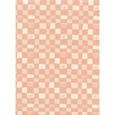 A4037-003 Print Shop - Grid - Peach Unbleached Cotton Fabric