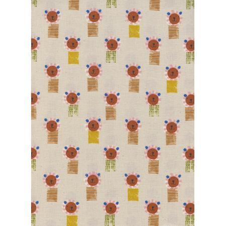 A4062-001 Sunshine - Lions - Natural Unbleached Cotton Fabric