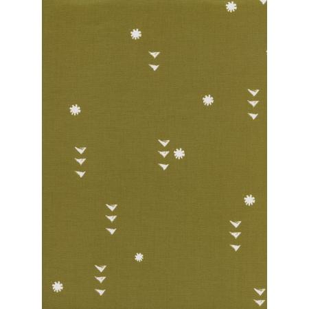 A4066-001 Sunshine - Rain - Olive Unbleached Cotton White Pigment Fabric