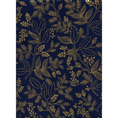 AB8005-003 Les Fleurs - Queen Anne - Navy Metallic Fabric
