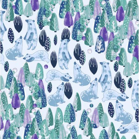 CC201-FG1 Chill Out - Save The Polar Bears - Forest Green Fabric