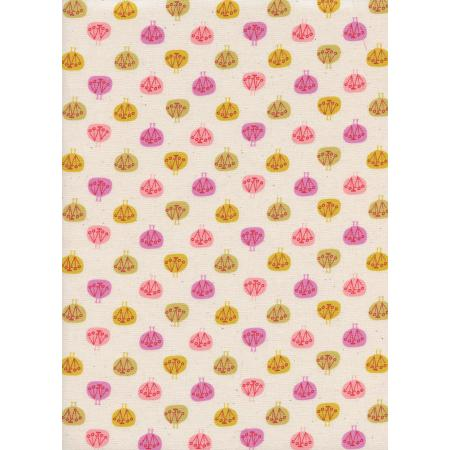 CB9006-001 Spectacle - Peacock Party - Pink Unbleached Cotton Fabric