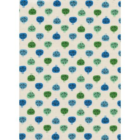 CB9006-002 Spectacle - Peacock Party - Blue Unbleached Cotton Fabric