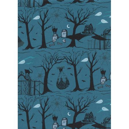 C5080-001 Boo - Hallow Lane - Blue Pearlescent Fabric
