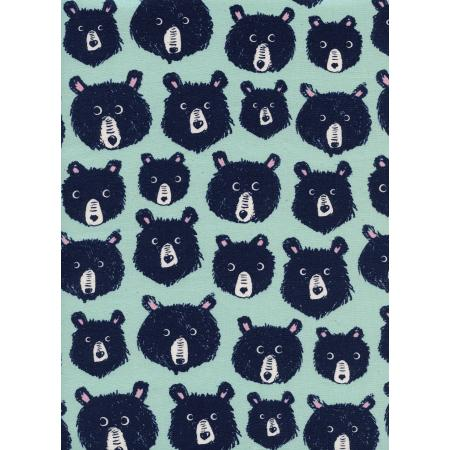 C5145-002 Cozy - Teddy And The Bears - Mint Unbleached Cotton Fabric