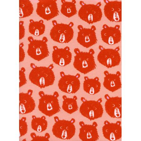 C5145-034 Cozy - Teddy And The Bears - Pink Brushed Twill Brushed Fabric