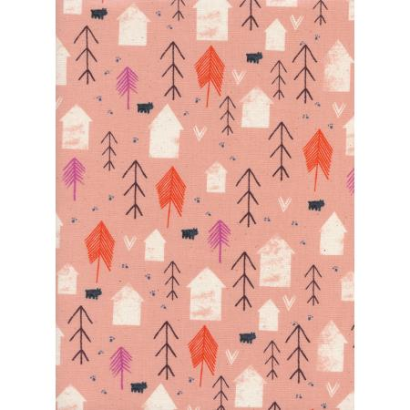 C5147-001 Cozy - Neighbors - Peach Unbleached Cotton Fabric