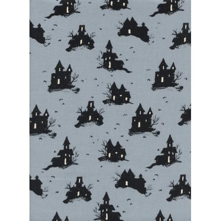 C5128-002 Lil\' Monsters - Trick Or Treat - Grey Unbleached Cotton Fabric