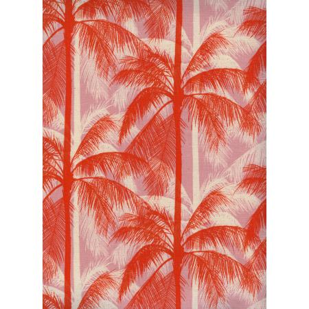 C6014-001 Poolside - Palms - Pink Unbleached Cotton Fabric