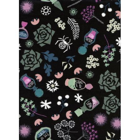 C5006-002 Spellbound - Elixir - Black White Pigment Fabric