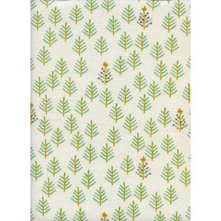 C5015-001 Tinsel - Christmas Forest - White Fabric