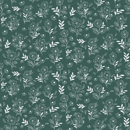 EM104-GM1 Earth Magic - Floral Cluster - Green Meadows Fabric 1