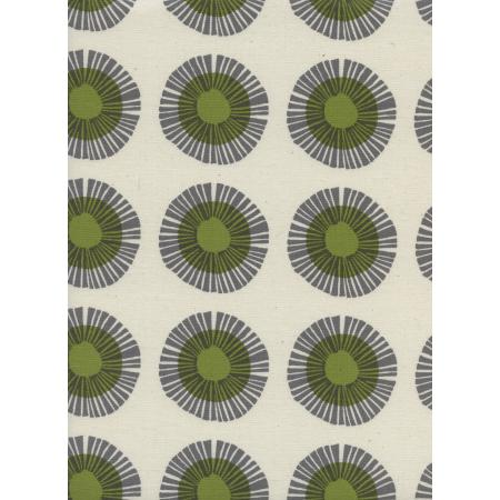 J9014-002 Imagined Landscapes - Seaside Daisy - Sage Unbleached Cotton Fabric