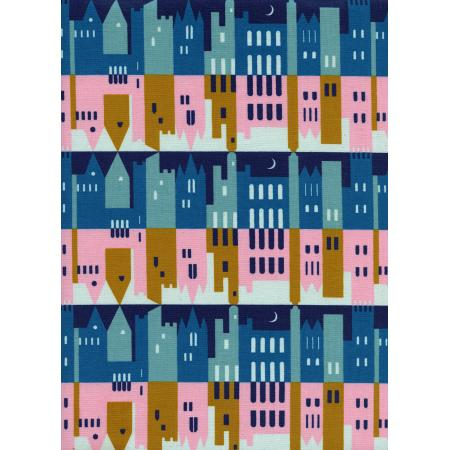 K3026-002 Penny Arcade - City - Morning Unbleached Cotton Fabric