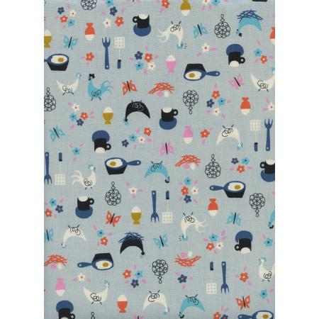 K3058-001 Welsummer - Kitchen Kitsch - Light Blue Unbleached Cotton Fabric