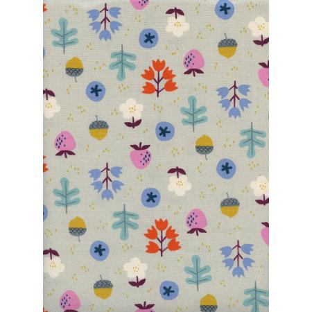 K3059-002 Welsummer - Forage - Gray Unbleached Cotton Fabric