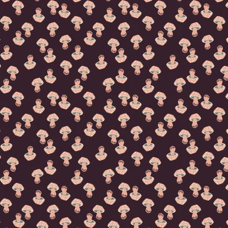 LV202-EG1U In The Woods - Mushroom - Eggplant Unbleached Fabric 1