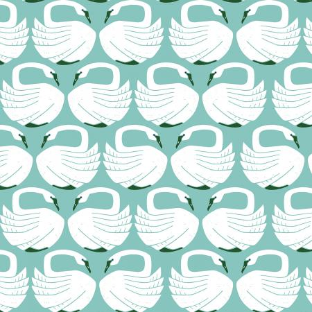 LV401-WA1 On a Spring Day - Loving Swans - Waterfall Fabric 1