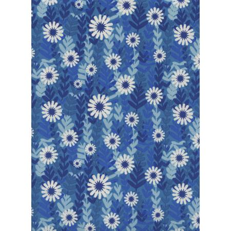 M0062-002 Freshly Picked - Daisies - Blue Unbleached Cotton Fabric