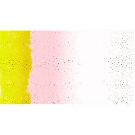 M0048-003 Jubilee - Confetti - Yellow Unbleached Cotton Metallic Fabric
